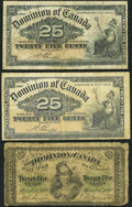 Canadian Currency: , DC-1b 25 Cents 1870. DC-15b 25 Cents 1900, Two Examples. ...(Total: 3 notes)
