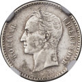 Venezuela: Republic 1/2 Bolivar (or Real) 1889 XF Details (Surface Hairlines) NGC