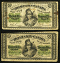 Canadian Currency: , DC-1b 25 Cents 1870. DC-1c 25 Cents 1870. ... (Total: 2 notes)