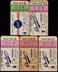 Baseball Collectibles:Tickets, 1953 and 1956 Dodgers World Series Ticket Stubs Lot of 5....