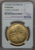 Colombia, Colombia: Ferdinand VII gold 8 Escudos 1819 NR-JF VF Details(Harshly Cleaned) NGC,...