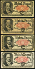 Fractional Currency:Fifth Issue, Fr. 1381 50¢ Fifth Issue Fine or Better Four Examples.. ... (Total: 4 notes)