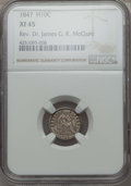 Seated Half Dimes: , 1847 H10C XF45 NGC. Ex: Rev. Dr. James G. K. McClure. NGC Census: (11/192). PCGS Population (25/203). Mintage: 1,274,000. ...