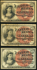 Fractional Currency:Fourth Issue, 10¢ Fourth Issue Very Good-Fine or Better.. ... (Total: 3 notes)