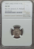 Seated Half Dimes, 1838 H10C Large Stars, No Drapery, AU58 NGC. Ex: Rev. Dr. James G. K. McClure. NGC Census: (74/532). PCGS Population (64/37...