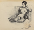 Pin-up and Glamour Art, Gil Elvgren (American, 1914-1980). Nude Relaxing on theSofa. Charcoal on vellum. 17.625 x 24 in. (sheet). Not signed....
