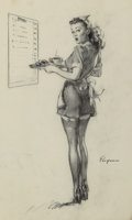 Pulp, Pulp-like, Digests, and Paperback Art, Gil Elvgren (American, 1914-1980). Everything Seems Awfully HighAround Here!, preliminary, 1946. Charcoal on vellum. 25...