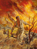 Pulp, Pulp-like, Digests, and Paperback Art, Tom Beecham (American, 1926-2000). Fire in the Wild, OutdoorAdventures magazine cover, September 1957. Oil and gouache ...