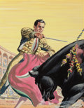 Pulp, Pulp-like, Digests, and Paperback Art, Henry Luhrs (1897-1964). Bullfighter, Mr. America magazinecover, February 1953. Gouache on board. 18.25 x 14.25 in. (i...