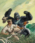 Pulp, Pulp-like, Digests, and Paperback Art, Tom Beecham (American, 1926-2000). Filming Gorillas, OutdoorAdventures magazine cover, January 1956. Oil on board. 20.7...