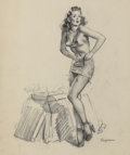 Pulp, Pulp-like, Digests, and Paperback Art, Gil Elvgren (American, 1914-1980). I Must Be Going to Waist(Waisted Effort), preliminary, 1946. Charcoal on vellum. 26 ...