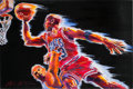 Basketball Collectibles:Others, 1990's Michael Jordan Chicago Bulls Signed Original Artwork byStephen Voita....