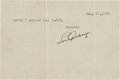 Baseball Collectibles:Others, 1939 Lou Gehrig Signed Note, PSA/DNA Gem Mint 10. ...
