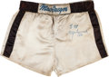 Boxing Collectibles:Autographs, 1980-81 Muhammad Ali Training Worn & Signed Trunks....