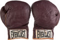 Boxing Collectibles:Memorabilia, 1966 Muhammad Ali Fight Worn Gloves from George Chuvalo I Bout....