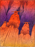 """Original Comic Art:Miscellaneous, Moebius (Jean Giraud) Moebius Trading Cards #66 """"TheHyperspace Gods"""" Hand-Colored Production Art and Print Group ...(Total: 2 Items)"""