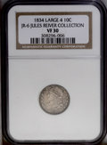 Bust Dimes: , 1834 10C JR-6 Large 4 VF30 NGC....
