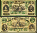 Obsoletes By State:Louisiana, New Orleans / Shreveport, LA- Citizens' Bank of Louisiana $5 (2) 18__ Remainders. ... (Total: 2 notes)