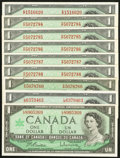Canadian Currency: , BC-37b $1 1954. BC-37b-i $1 1954, Seven Examples. BC-45b $1 1967.... (Total: 9 notes)