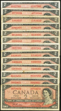 Canadian Currency: , A Bakers Dozen of Canadian $2 Notes from the 1954 Issue.. ...(Total: 13 notes)