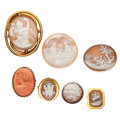 Estate Jewelry:Cameos, Shell Cameo, Coral Cameo, Gold, Silver, Gold-Plated Jewelry. . ...(Total: 7 Items)