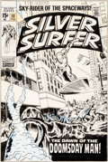 Original Comic Art:Covers, John Buscema and Dan Adkins Silver Surfer #13 Cover Original Art (Marvel, 1970)....