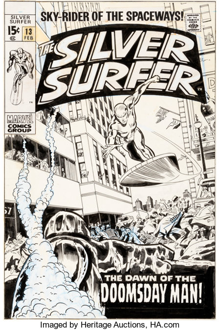 John Buscema and Dan Adkins Silver Surfer #13 Cover Original Art (Marvel, 1970)....