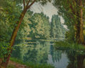 Paintings, Henri Biva (French, 1848-1928). Midsummer water lilies. Oil on canvas. 21-1/2 x 25-3/4 inches (54.6 x 65.4 cm). Signed l...