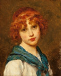 Fine Art - Painting, European:Antique  (Pre 1900), Eugen von Blaas (German, 1843-1931). Girl with a blue scarf,1882. Oil on panel. 10-5/8 x 8-1/2 inches (27.0 x 21.6 cm)...
