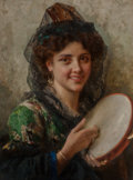 Paintings, Federigo Andreotti (Italian, 1847-1930). Girl with a tambourine. Oil on canvas. 26 x 19-1/4 inches (66.0 x 48.9 cm). Sig...