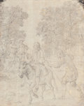 Fine Art - Work on Paper:Drawing, Charles-Nicolas Cochin (French, 1715-1790). The miller, his sonand the donkey, after Oudry's The Fables of La Fontaine, 1...