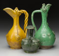 Asian:Chinese, Three Chinese Tang Dynasty Glazed Terracotta Vessels. 13-3/4 incheshigh (34.9 cm). ... (Total: 3 Items)