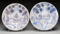 Ceramics & Porcelain, Continental:Modern  (1900 1949)  , A Pair of Italian Maiolica Shallow Bowls, 20th century. Marks: (impressed seals to reverse). 12-1/2 inches diameter (31.8 cm... (Total: 2 Items)