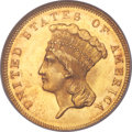 Three Dollar Gold Pieces, 1855 $3 MS65 NGC....