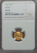Commemorative Gold, 1922 G$1 Grant Gold Dollar, No Star, MS64 NGC....