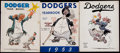 Baseball Collectibles:Publications, 1951-55 Brooklyn Dodgers Yearbooks Lot of 3....