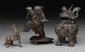 Asian:Chinese, Three Asian Bronze Figures. 5-5/8 inches high (14.3 cm) (tallest).... (Total: 3 Items)