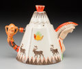 Ceramics & Porcelain, British:Modern  (1900 1949)  , A Clarice Cliff for Newport Pottery Cold Painted Porcelain Teapot:Greetings from Canada, circa 1930. Marks: C...