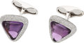 Estate Jewelry:Cufflinks, Amethyst, Diamond, White Gold Cuff Links, Eli Frei. ... (Total: 2Items)