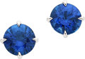 Estate Jewelry:Earrings, Sapphire, White Gold Earrings. ... (Total: 2 Items)