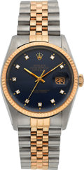 Timepieces:Wristwatch, Rolex Ref. 16000 Two Tone Diamond Dial Oyster Perpetual Datejust, circa 1985. ...