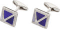 Estate Jewelry:Cufflinks, Lapis Lazuli, Diamond, White Gold Cuff Links, Eli Frei. ... (Total:2 Items)