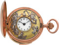 Timepieces:Pocket (pre 1900) , Swiss 14k Gold Five Minute Repeater With Jaquemarts & AddedErotic Automaton, circa 1895. ...