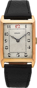 Timepieces:Wristwatch, Rolex Vintage 18k Gold Large Rectangular, circa 1932. ...