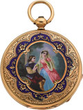 Timepieces:Pocket (pre 1900) , Swiss Gold Key Wind With Enameled Scene, circa 1860's. ...