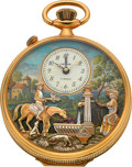 "Timepieces:Pocket (post 1900), Reuge ""The Huntsman's Rest"" Musical Pocket Watch With Automaton& Alarm. ..."