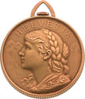 Timepieces:Pocket (post 1900), Swiss Gold Coin Form Watch. ...