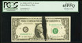 Error Notes:Ink Smears, Fr. 1910-D $1 1977A Federal Reserve Note. PCGS Gem New 65PPQ.. ...