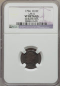 Early Half Dimes, 1794 H10C V-4, LM-4, R.4 -- Scratches -- NGC Details. VF....