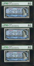 Canadian Currency: , BC-39aA $5 1954 Replacement, Three Consecutive Examples. ...(Total: 3 notes)